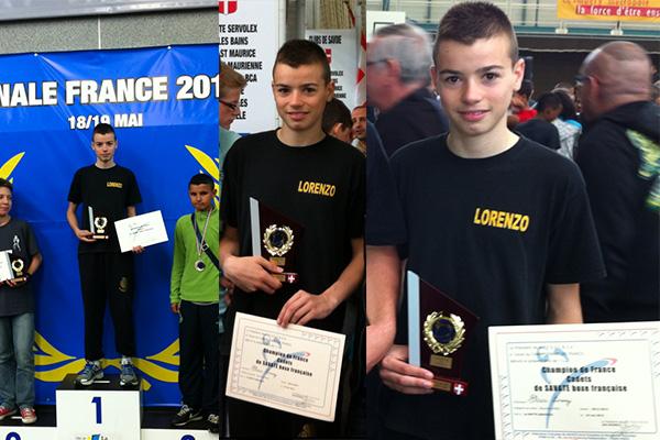 Lorenzo champion de France cadets de savate boxe française